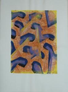 T118 palimpseste 3 papier Lana 250gr 76x56 peinture 53x37 gravure aérosol marqueur