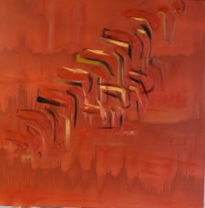 T127 acrylique huile sur toile 100x100