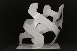 T245 sculpture acier 34x34xh38